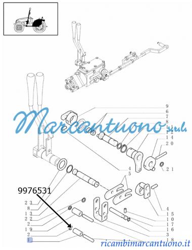 Boccola comando meccanico sollevatore ( sforzo, posizione e mix) New Holland - cod 9976531