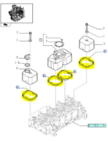 Guarnizione coperchi testa cilindri New Holland - cod 504053522