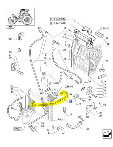 tubo condizionatore CNH - cod 87372462